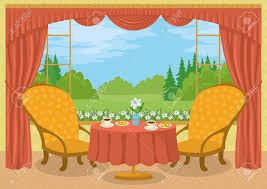 Dining Table And Two Chairs Room With Red Curtains Yellow Wall Two Chairs And A Dining