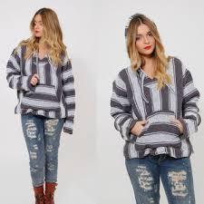 Mexican Rug Sweater Shop Striped Baja Hoodie On Wanelo