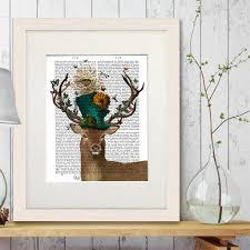 alice in wonderland print deer print mad hatter alice in wonderland