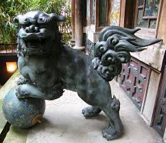 shisa statues japanese lion dog shisa with decorative postcards from
