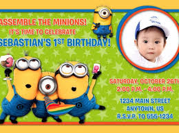 custom minion birthday invitations tags personalized minion