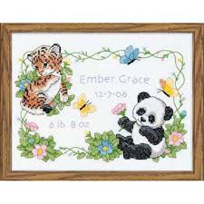 dimensions baby animals birth record sted cross stitch