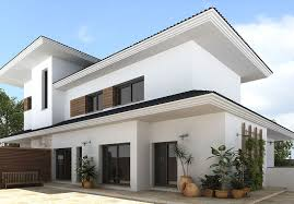inviting modern home design building showing snow white home