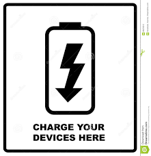 charge your phone charge your devices here sign battery icon charge indicator on a