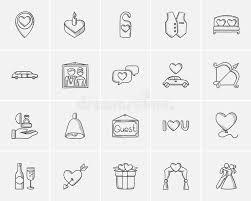 wedding sketch icon set stock vector image 76483064