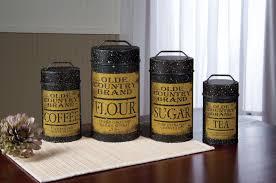 tin vintage look flour sugar coffee tea food canisters set 4 new