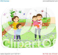 happy family garden clipart of a happy family watching butterflies in their garden