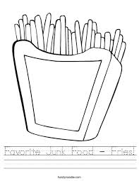 favorite junk food fries worksheet twisty noodle