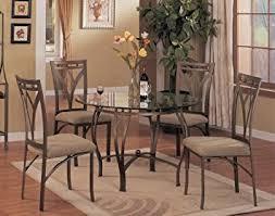 glass dining room table set amazon com 5 pc metal and glass dining room table set in a bronze