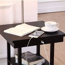 2 In1 Modern Side Table Floor L With White Shade And Usb Ports