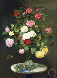 Vases Of Roses Otto Didrik Ottesen A Bouquet Of Roses In A Glass Vase By Wild