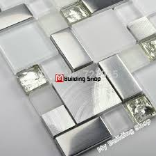 glass tile kitchen backsplashes pictures metal and white glass mosaic kitchen backsplash tile ssmt104 silver stainless steel