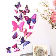 popular wall decal butterfly buy cheap wall decal butterfly lots fashion diy 12pcs set wall stickers colorful butterflies 3d pvc double layer magnet wall decals