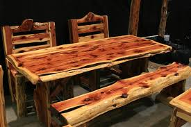 rustic log dining room tables cedar log dining tables by cedar bluff furniture