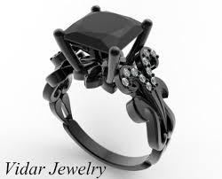 black diamond wedding ring princess cut black diamond engagement ring in black gold vidar