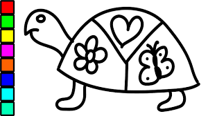 how to draw turtle with hearts colouring for kids coloring pages