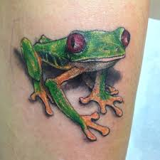 green tree frog by sydney tattooist and artist