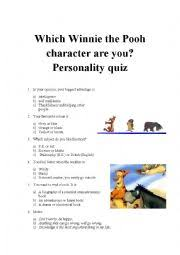 english worksheets which winnie the pooh character are you
