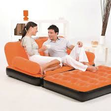 Sofa Bed Inflatable by Inflatable Twin Sofa Bed With Air Pump Indoor Outdoor Orange Mom