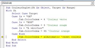 tab colorindex reset excel vba stack overflow