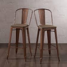 Tabouret 30 Inch Wood Seat Brushed Copper Bistro Bar Stool Set Of