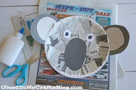 newspaper koala kid craft glued to my crafts