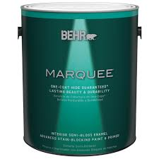 home depot interior paints behr marquee 1 gal ultra pure white semi gloss enamel one coat