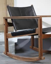 Leather Rocking Chair Peglev Leather And Solid Wood Rocking Chair By Objekto