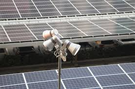 solar panel parking lot lights led pole with solar panel roof stock image image of lights