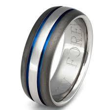 thin blue line wedding band titanium wedding band thin blue line from titaniumringsstudio