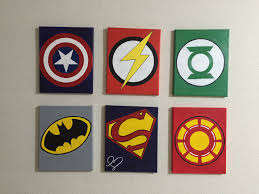 superhero logo canvas painting diy easy painting pinterest