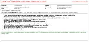 laboratory equipment cleaner cv work experience