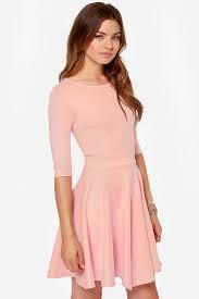 pink dress pink dress skater dress dress with sleeves 49 00