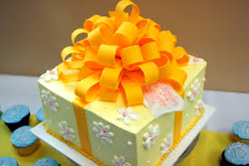 decorative cakes file decorative cake in shape of a present with large orange bow