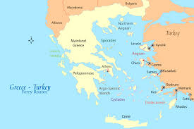 Map Greece by Greece Turkey Ferry Map And Guide