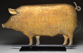 Bull Weathervane Large Important Molded Copper Pig Weathervane