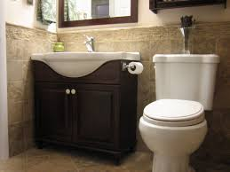 cottage bathroom decorating ideas photos small country design mozaic half tile wall decor mahogany wooden cabinet vanity has tissue roll neck beside latest white toilet small bathroom renovation pictures