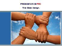 team building hands powerpoint template background in business