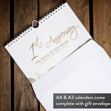 paper anniversary personalised paper anniversary calendar 1st edition