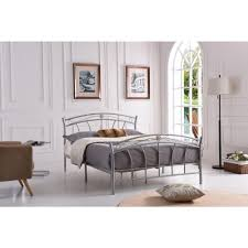 hodedah silver full size metal panel bed with headboard and