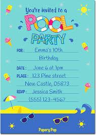 shark birthday invitations amazon com pool party invitations with envelopes 15 count
