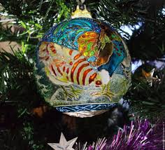 buy glass christmas ball with stained glass painted bird house ball