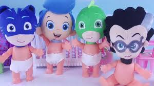 bubble guppies pj masks baby dolls poopy diaper changing feeding