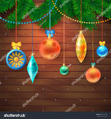 Board Decoration On Happy New Year decorated merry christmas tree branch happy stock vector 526113757