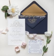 paper invitations regal navy and gold foil calligraphy wedding invitations
