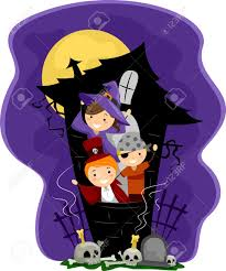 halloween kids clip art illustration of kids in a haunted house stock photo picture and