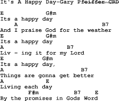 christian chlidrens song it s a happy day gary pfeiffer crd lyrics