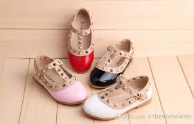 party studded flats shoes baby girls autumn princess pu leather