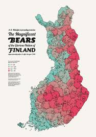 a map of finland u0027s bear population made up of bears vox