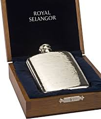 engraved box royal selangor 4 5oz hipflask funnel in a wood presentation box